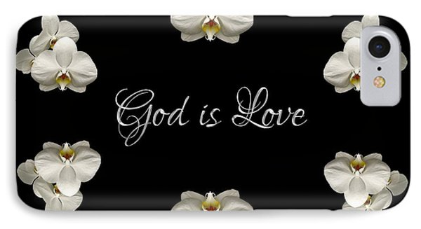 Mirrored Orchids Framing God Is Love IPhone Case by Rose Santuci-Sofranko