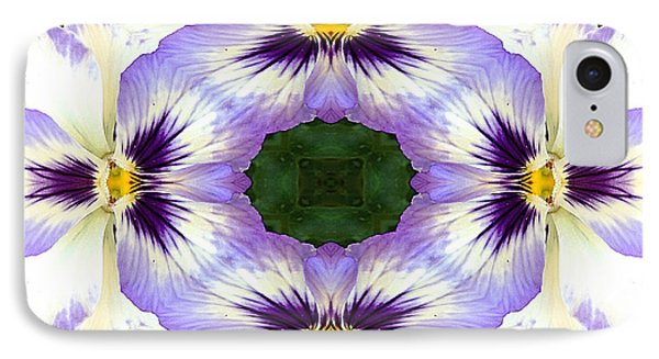 Mirrored Pansies - Horizontal IPhone Case by Jon Woodhams