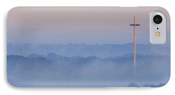 Mission Cross In Fog At Sunrise IPhone Case by Jackie Hird