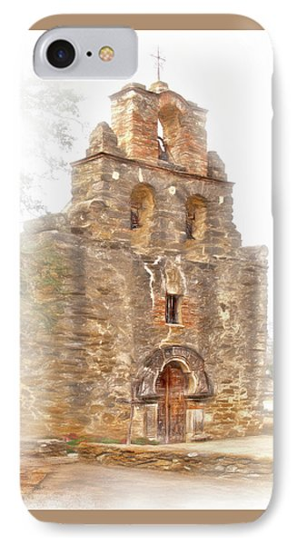 IPhone Case featuring the photograph Mission San Francisco De La Espada In Faux Pencil Drawing  by David and Carol Kelly