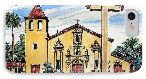 IPhone Case featuring the painting Mission Santa Clara De Asis by Terry Banderas