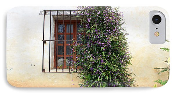 Mission Window With Purple Flowers Phone Case by Carol Groenen