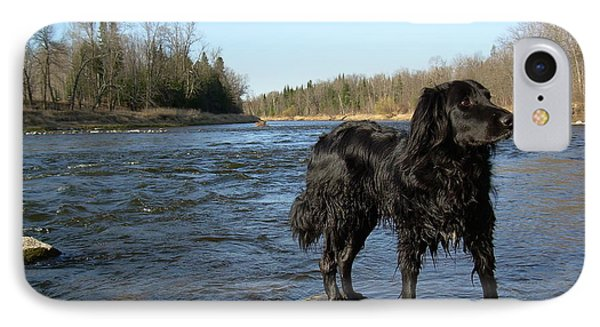 IPhone Case featuring the photograph Mississippi River Dog On The Rocks by Kent Lorentzen