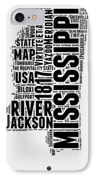 Mississippi Word Cloud 2 IPhone Case by Naxart Studio