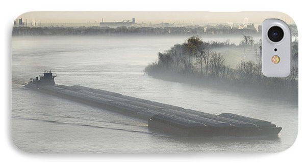Mist Shrouded River And Tugboat Phone Case by Jeremy Woodhouse