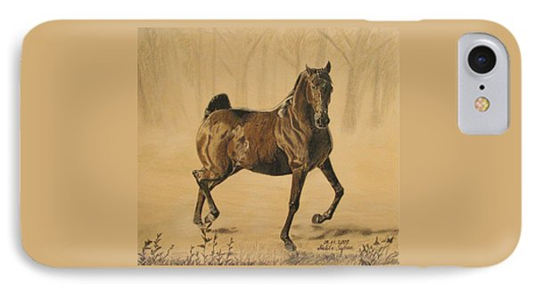 IPhone Case featuring the drawing Mistical Horse by Melita Safran