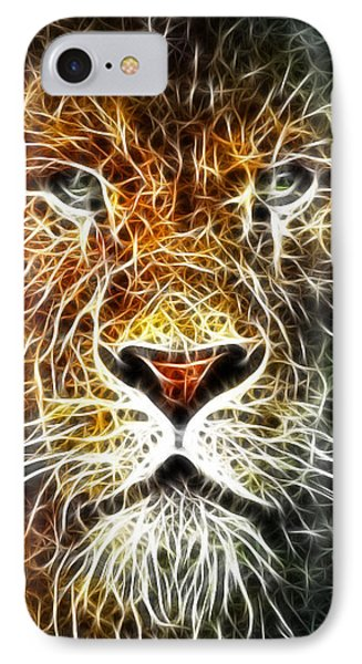 IPhone Case featuring the mixed media Mistical Lion by Paul Van Scott