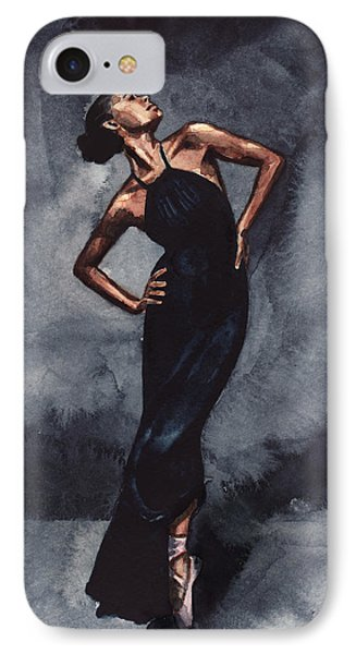 Misty Copeland Ballerina Dancer In A Black Dress IPhone Case by Laura Row