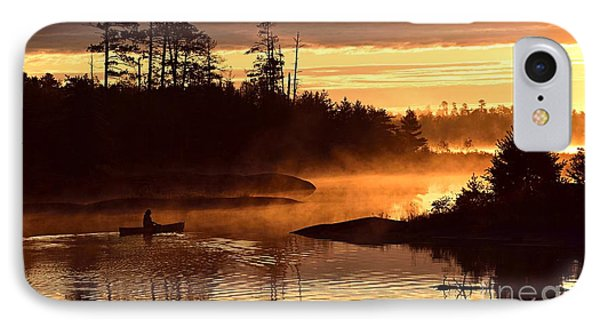 IPhone Case featuring the photograph Misty Morning Paddle by Larry Ricker