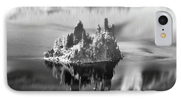 IPhone Case featuring the photograph Misty Phantom Ship Island Crater Lake B W  by Frank Wilson