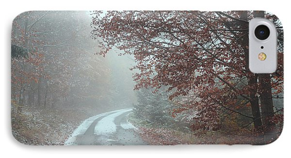 Misty Road. Series In Mysterious Woods IPhone Case by Jenny Rainbow