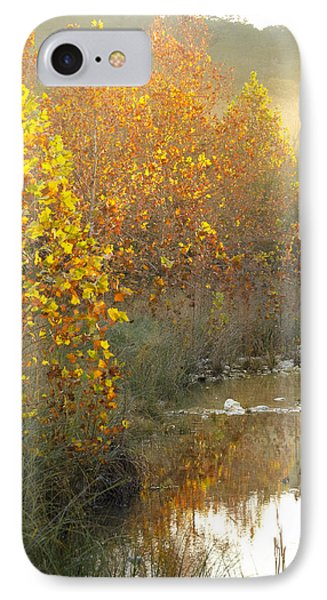 Misty Sunrise At Lost Maples State Park IPhone Case by Debbie Karnes