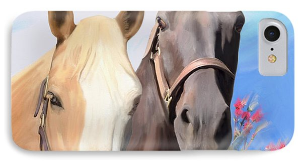 Miwok Horses IPhone Case by Julianne  Ososke