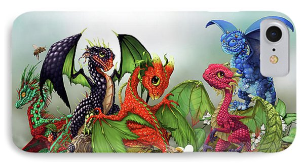Raspberry iPhone 7 Case - Mixed Berries Dragons by Stanley Morrison