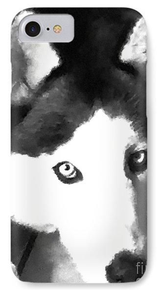Mixed Media Expressive Siberian Husky A40417 IPhone Case by Mas Art Studio