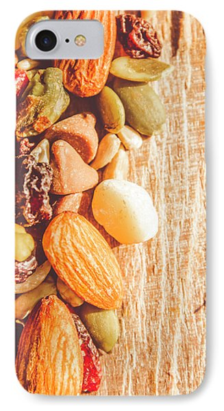 Mixed Nuts On Wooden Background IPhone Case by Jorgo Photography - Wall Art Gallery