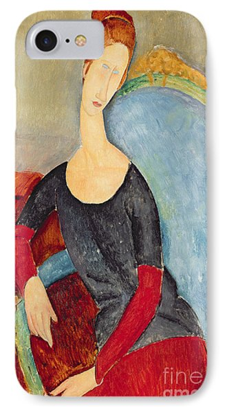Mme Hebuterne In A Blue Chair IPhone Case by Amedeo Modigliani