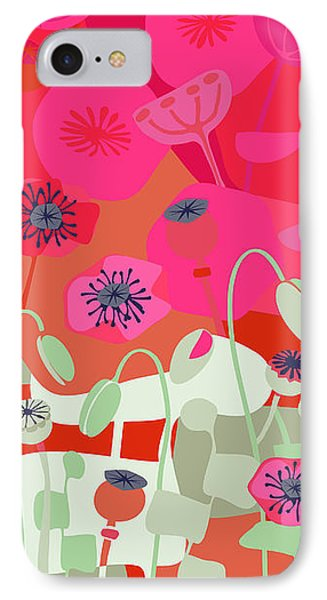 Mod Red Poppies IPhone Case by CR Leyland