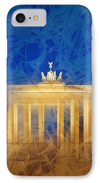 Modern Art Berlin Brandenburg Gate IPhone Case by Melanie Viola