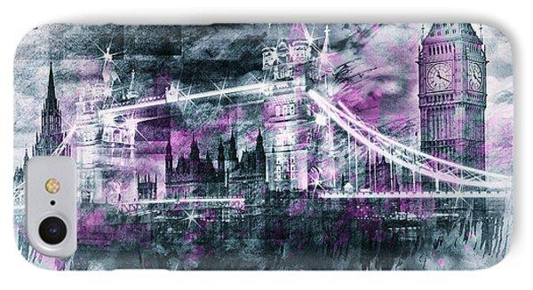Modern-art London Tower Bridge And Big Ben Composing  IPhone Case by Melanie Viola