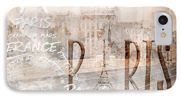 Modern Art Paris Collage IPhone Case by Melanie Viola