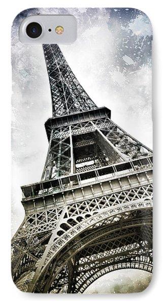 Modern-art Paris Eiffel Tower Splashes IPhone Case by Melanie Viola