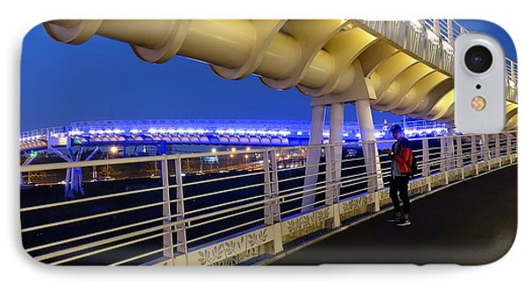 IPhone Case featuring the photograph Modern Bicycle Overpass By Night by Yali Shi
