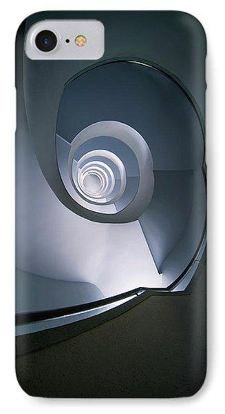 Modern Blue Spiral Staircase IPhone Case by Jaroslaw Blaminsky
