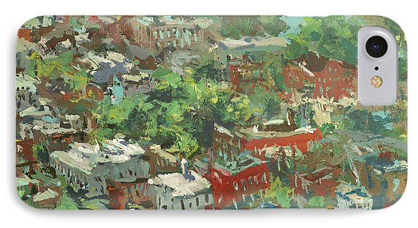 IPhone Case featuring the painting Modern Cityscape Painting Featuring Downtown Richmond Virginia by Robert Joyner