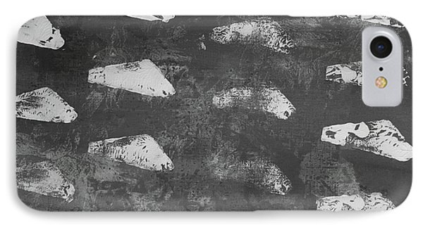 IPhone Case featuring the painting Modern Fossil Grayscale by Robin Maria Pedrero