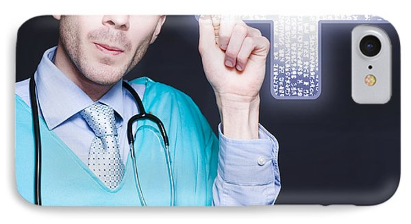 Modern Male Doctor Pressing Digital Cross Button IPhone Case by Jorgo Photography - Wall Art Gallery