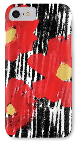 IPhone Case featuring the mixed media Modern Red Flowers- Art By Linda Woods by Linda Woods
