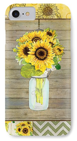 Modern Rustic Country Sunflowers In Mason Jar IPhone 7 Case by Audrey Jeanne Roberts