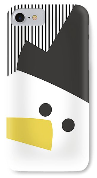 Modern Snowman On Stripes- Art By Linda Woods IPhone Case by Linda Woods
