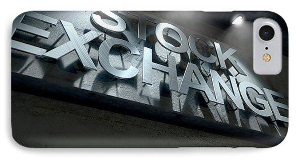 Modern Stock Exchange Signage IPhone Case by Allan Swart