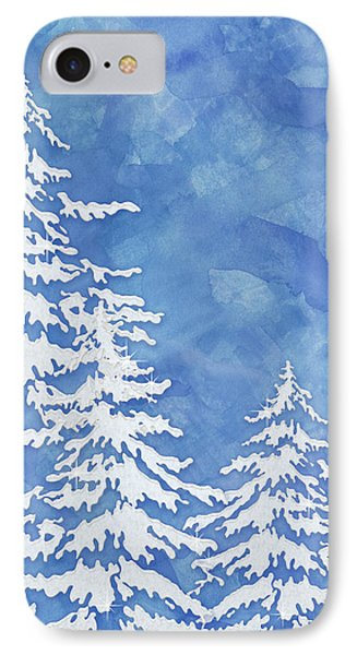 Simple iPhone 7 Case - Modern Watercolor Winter Abstract - Snowy Trees by Audrey Jeanne Roberts