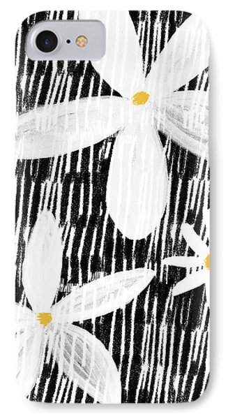 IPhone Case featuring the mixed media Modern White Flowers- Art By Linda Woods by Linda Woods