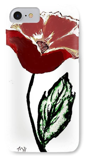 IPhone Case featuring the drawing Modernized Flower by Marsha Heiken