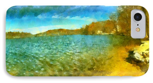 IPhone Case featuring the painting Mohegan Lake Panoramic Beach by Derek Gedney