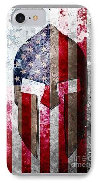 Molon Labe - Spartan Helmet Across An American Flag On Distressed Metal Sheet IPhone Case by M L C