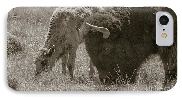 IPhone Case featuring the photograph Mom And Baby Buffalo by Rebecca Margraf
