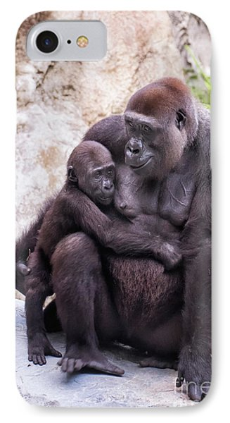 Mom And Baby Gorilla Sitting IPhone Case by Stephanie Hayes