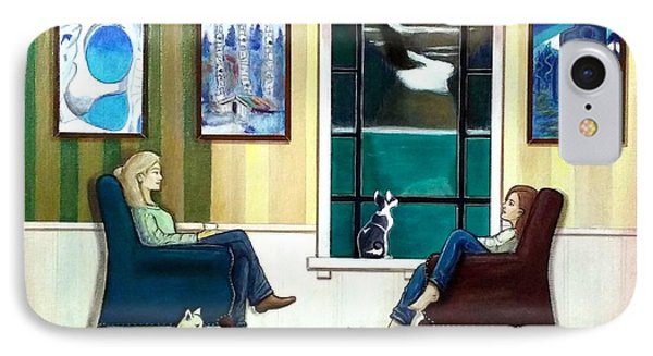Mom And Daughter Sitting In Chairs With Sphynxes IPhone Case by John Lyes