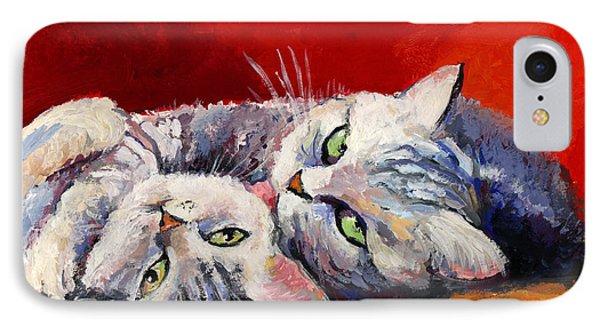 Mom And Kitten Cat Painting IPhone Case by Svetlana Novikova