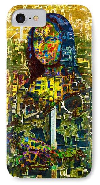 IPhone Case featuring the mixed media Mona by Tony Rubino
