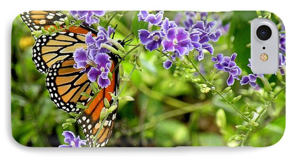 Monarch And Purple Flowers IPhone Case by Rosalie Scanlon