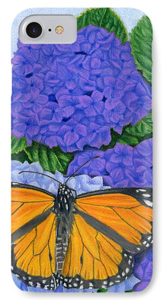 Monarch Butterflies And Hydrangeas IPhone Case