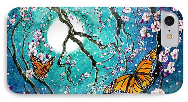 Monarch Butterflies In Teal Moonlight IPhone Case by Laura Iverson