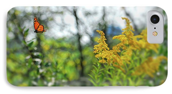 IPhone Case featuring the photograph Monarch Butterfly Flyaway by Kerri Farley