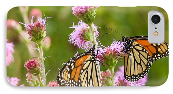 IPhone Case featuring the photograph Monarch Butterfly Pair Square Format by Heidi Hermes